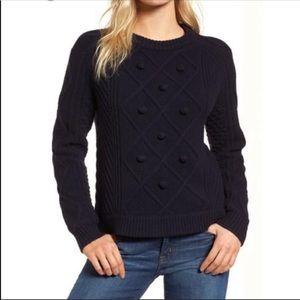 J Crew Wool Cable Knit Pom Pom Sweater